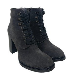 New M. Gemi The Alpestre Waterproof Charcoal Grey Suede Lace-Up Booties Sz 38.5